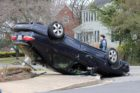 A car flipped on its roof near Bishop O'Connell High School  on 3/21/13