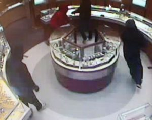 Surveillance image of smash-and-grab robbery at Tourneau in Pentagon City mall (photo courtesy ACPD)