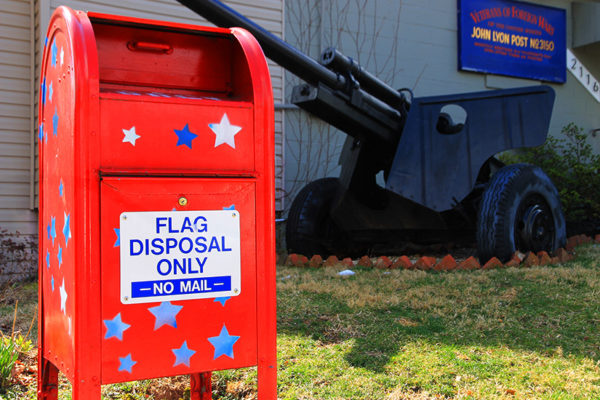 Flag disposal bin at John Lyon VFW Post 3150 on N. 19th Street