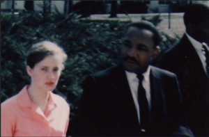 Joan Mulholland with Dr. Martin Luther King, Jr. (photo courtesy Arlington Public Library)