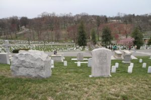 An existing portion of Arlington National Cemetery's burial grounds