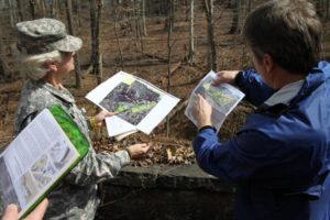 Col. Bruzese and a project manager at the Millenium Project site
