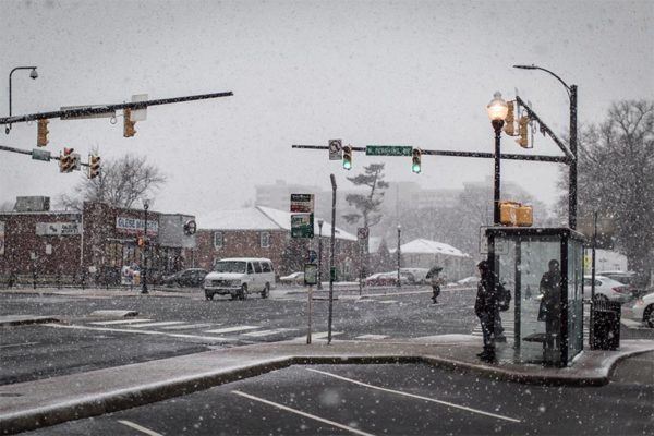 Snow at the corner of Glebe and Pershing at 10:00 a.m. (Flickr pool photo by Ddimic)