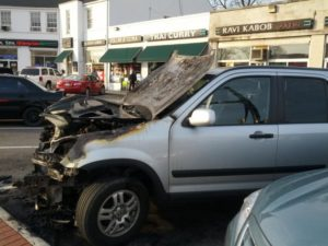 "A car caught fire along Glebe Road in Buckingham (photo courtesy ""Tim"")"