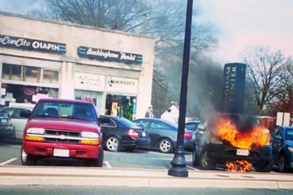 A car on fire along Glebe Road in Buckingham (photo courtesy @Hightweetts)