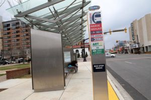 Super Stop bus stop at Columbia Pike and Walter Reed Drive