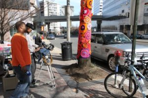 Yarn bombing in Rosslyn