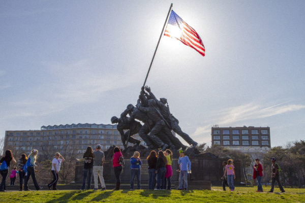 A school group at the Iwo Jima memorial