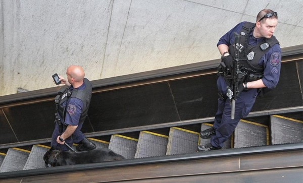 Metro Transit Police at the Pentagon City Metro station on 4/15/13