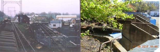 W&OD railroad tracks before and after (courtesy Preservation Virginia)