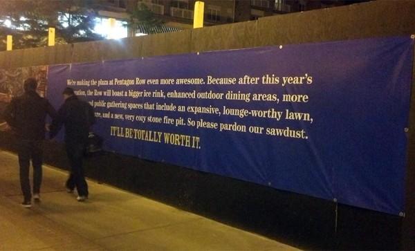 Construction sign at Pentagon Row