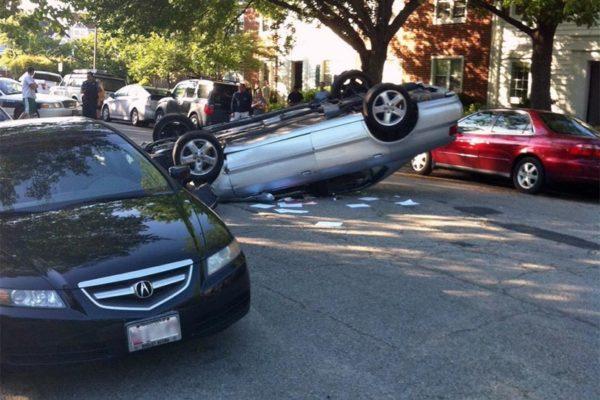 Flipped car on S.  Wakefield Street (courtesy photo)
