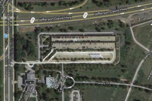 Arlington National Cemetery parking lot aerial view (via Google Maps)