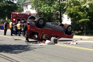 Overturned SUV near the intersection of S. Glebe Road and 2nd Street (photo courtesy @SeidelAgency)