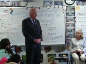 Sen. Patrick Leahy (D-Vt.) visits third graders at Glebe Elementary School (courtesy photo)