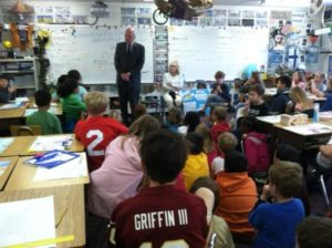 Sen. Patrick Leahy (D-Vt.) visits third graders at Glebe Elementary School (courtesy photo)
