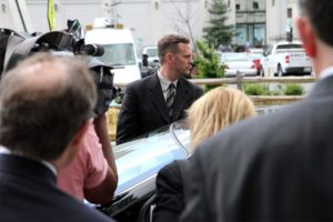 Lt. Col Jeffrey Krusinski leaves an Arlington courthouse