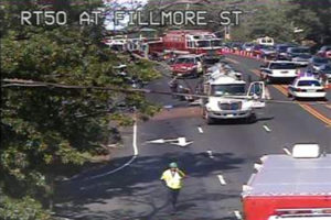 Accident involving a sewage truck on EB Route 50 at Fillmore Street