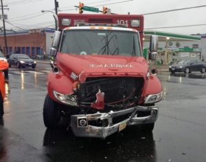 Damaged ambulance after crash with ART bus (photo courtesy Daniel Fitch)