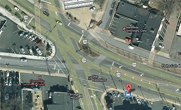 Five-way intersection in Cherrydale (via Google Maps)