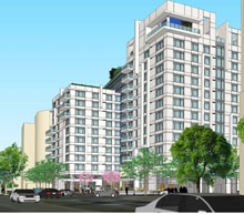 Rendering of proposed Latitude Apartments building in Virginia Square