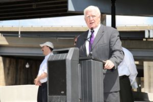 Rep. Jim Moran speaks at a ribbon cutting for S. Joyce Street renovations