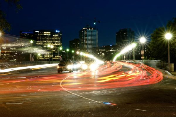 Traffic on the Key Bridge facing Rosslyn (Flickr pool photo by Wolfkann)