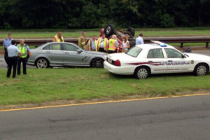 Overturned car on GW Parkway (courtesy of MWAA)
