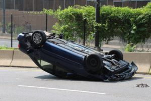 Overturned car on Lee Highway near Rosslyn