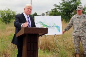 Rep. Jim Moran at Four Mile Run bridge event