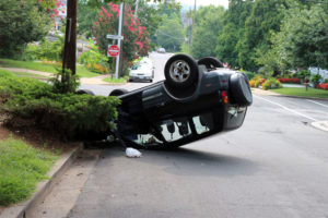 Overturned car in Cherrydale