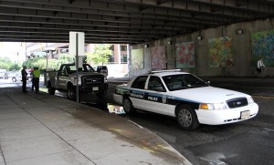 A county-owned  pickup truck struck a pedestrian in Crystal City