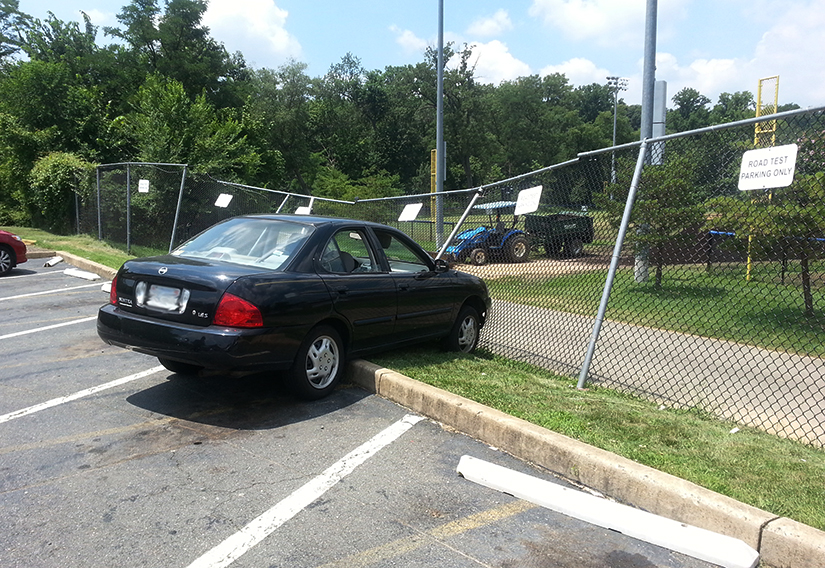 Driver At Dmv Crashes Car Into Fence