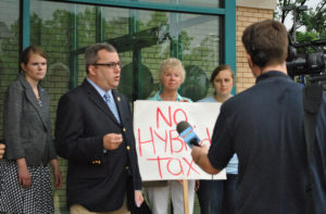 Protesters join State Sen. Adam Ebbin in push to repeal hybrid vehicle tax (courtesy photo)