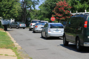 Re-routed traffic overflows onto S. 12th Street