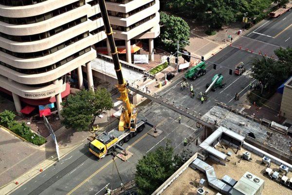 Demolition of a pedestrian bridge in Crystal City over the weekend (photo courtesy Ryan Kaltenbaugh)