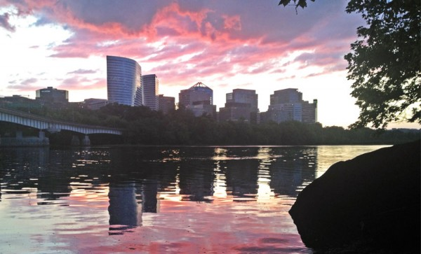 Rosslyn at sunset, as seen from Roosevelt Island (photo courtesy Brendan P. Childs)
