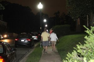 Residents gather to discuss LED streetlights in an Arlington neighborhood in 2013
