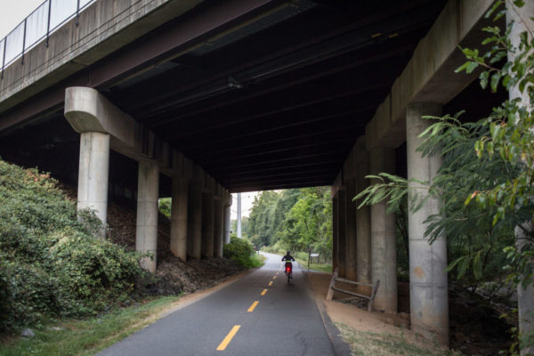 Bicycle commuter on the W&OD Trail (Flickr pool photo by ddimick)