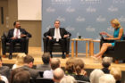 E.W. Jackson, Ralph Northam and Peggy Fox at the GMU Lt. Gov. debate