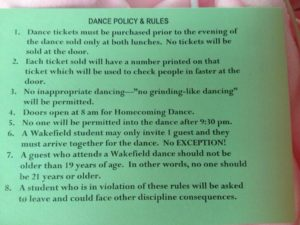 Wakefield High School dance policies (photo via @WakefieldProbz)