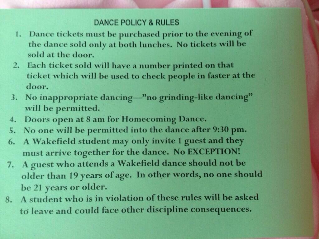 No Grinding Allowed At Upcoming Homecoming Dances | ARLnow.com