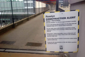 Rosslyn Metro construction notice