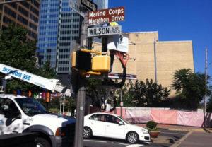 Marine Corps Marathon street sign in Rosslyn (photo courtesy @StayArlington)