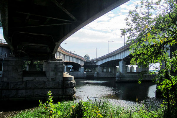 View of the Roosevelt Bridge from the bike path (Flickr pool photo by eschweik)