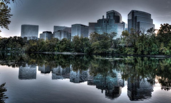 Rosslyn skyline from Roosevelt Island (Flickr pool photo by Sunday Money)