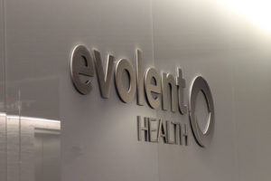 Evolent logo at its Ballston office