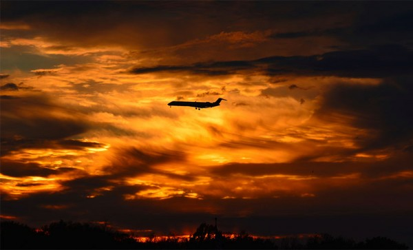 Jetliner at Sunset (Flickr pool photo by J. Sonder)