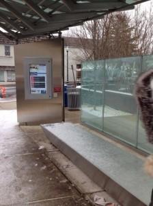 Snow on the bench of the Walter Reed Super Stop (photo via @Fallon4ArlVA)