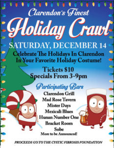 Clarendon's Finest holiday bar crawl poster